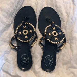 Navy blue and gold jelly jack Rogers